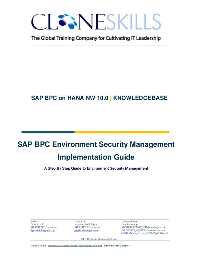 SAP BPC on HANA Environment Security Management Implementation Guide v9