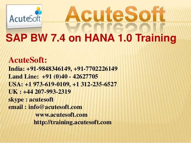Sap bw 7.4 on hana 1.0 training