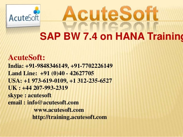 Sap bw 7.4 on hana training