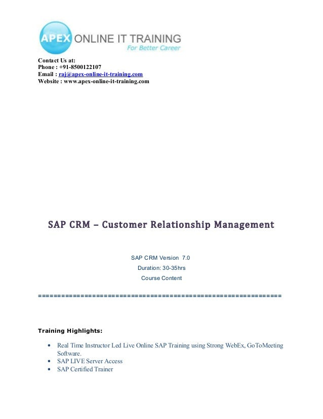 SAP CRM ONLINE TRAINING COURSE CONTENT