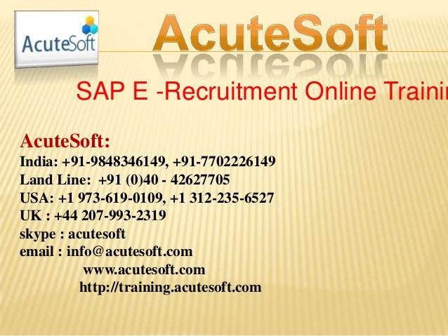 Sap e  recruitment online training