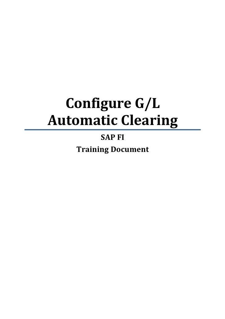 Sap fi configure gl automatic clearing