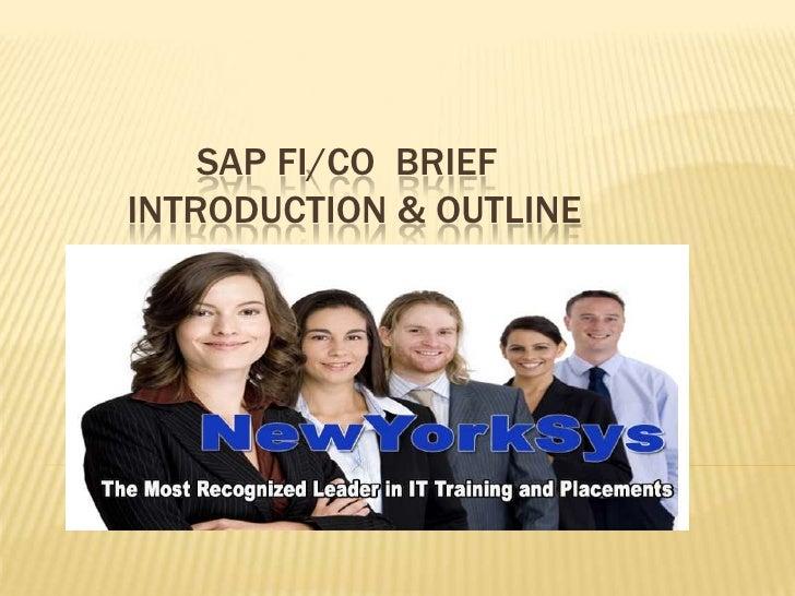 SAP FI/CO BRIEFINTRODUCTION & OUTLINE