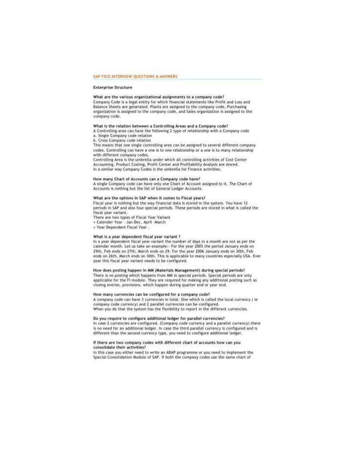 Sap fico interview questions — Document Transcript   •   1. SAP FICO INTERVIEW QUESTIONS & ANSWERSEnterprise       Structu...