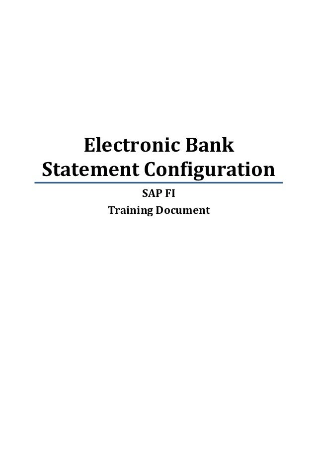 Sap fi training electronic bank statement configuration