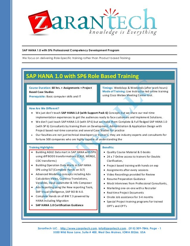 SAP HANA Training Course Content from ZaranTech