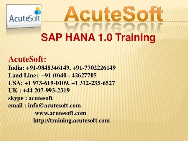 SAP HANA 1.0 TRAINING