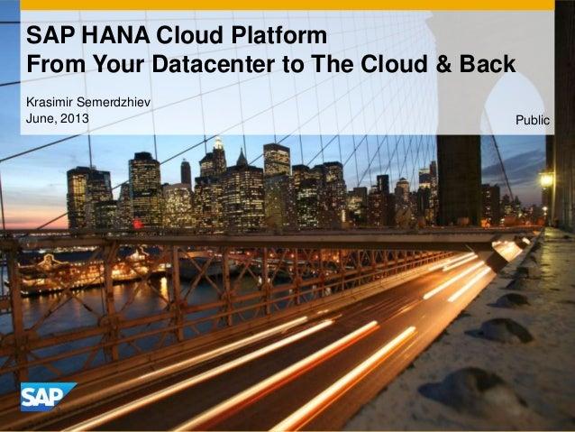 Krasimir SemerdzhievJune, 2013SAP HANA Cloud PlatformFrom Your Datacenter to The Cloud & BackPublic