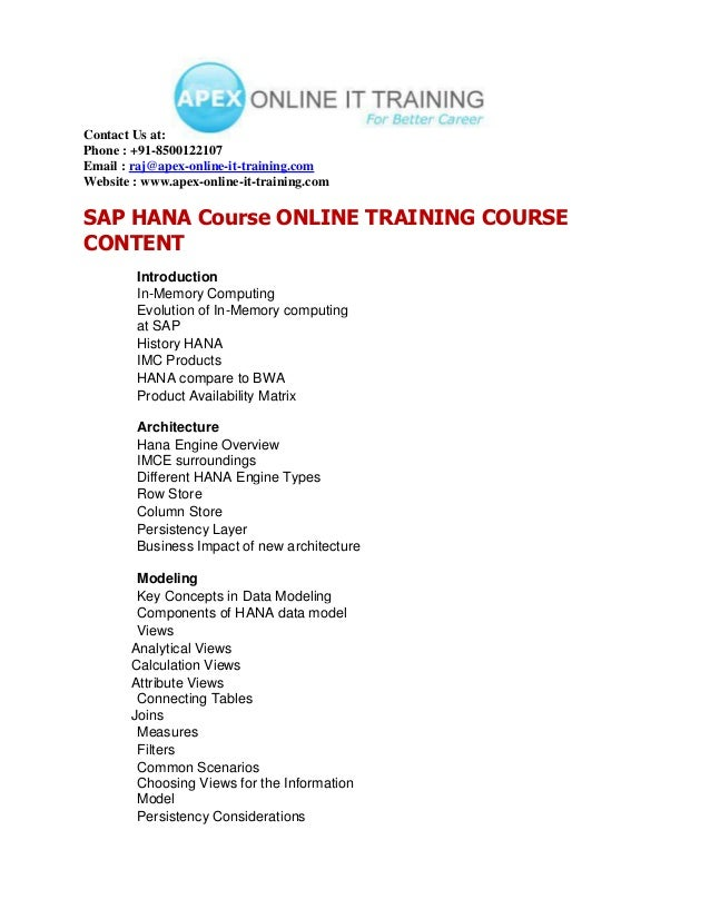 SAP HANA ONLINE TRAINING COURSE CONTENT