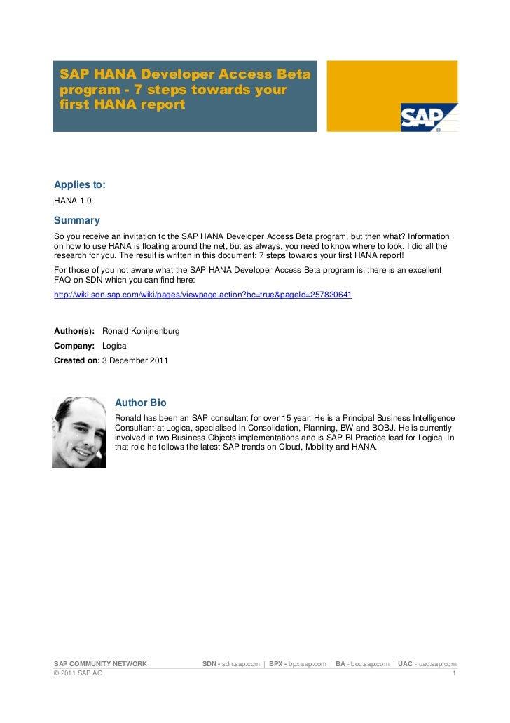 SAP HANA Developer Access Beta program - 7 steps towards your first HANA report