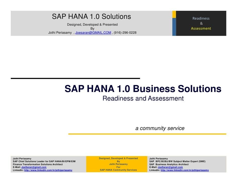 SAP HANA 1.0 Solutions                                                                           Readiness                ...