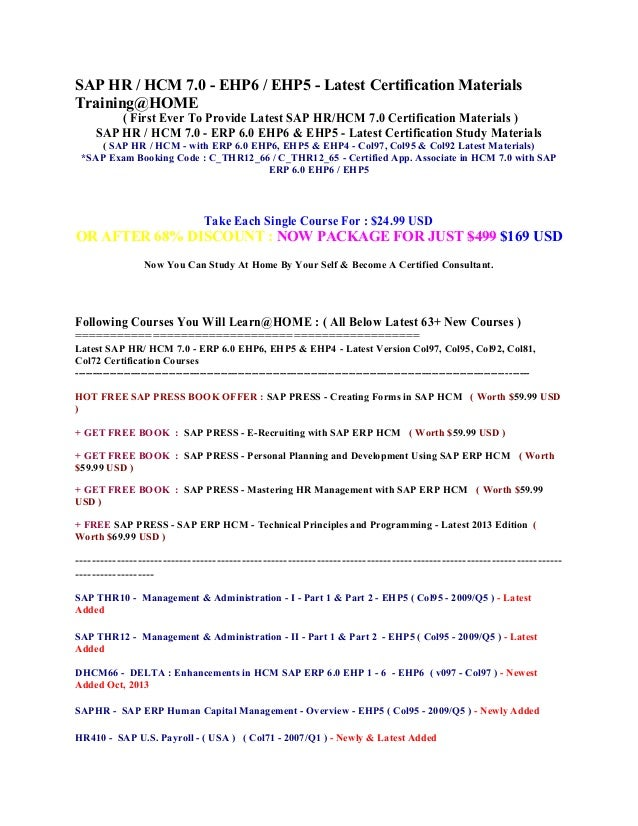 Sap hr  hcm 7.0   erp 6.0 ehp6 & ehp5 latest certification study materials sap exam booking code c thr12-66 & c_thr12_65