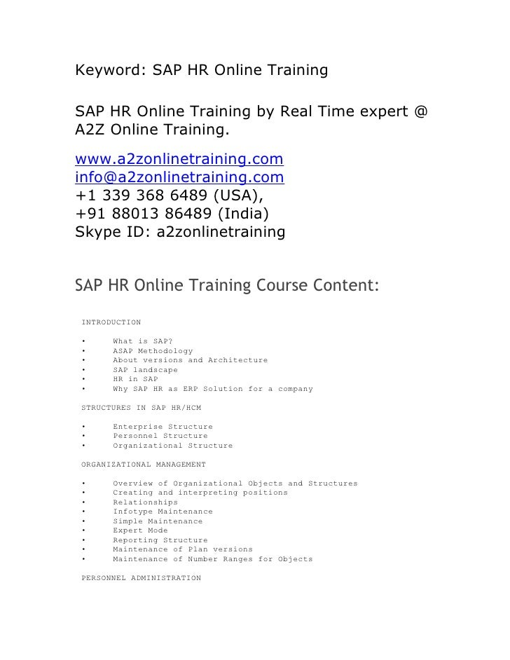 Keyword: SAP HR Online TrainingSAP HR Online Training by Real Time expert @A2Z Online Training.www.a2zonlinetraining.comin...