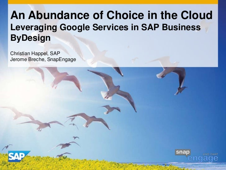 An Abundance of Choice in the CloudLeveraging Google Services in SAP BusinessByDesignChristian Happel, SAPJerome Breche, S...