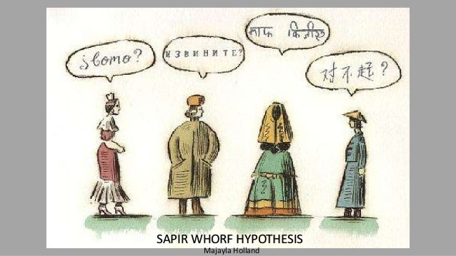 the sapir whorf hypothesis essay Sapir argued that: we see and hear and otherwise experience very largely as we do because the language habits of our community predispose certain choices.