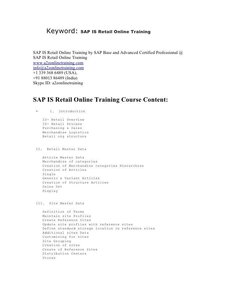 SAP IS Retail Online Training