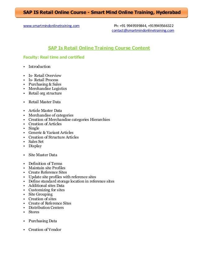 Sap is retail online training course content