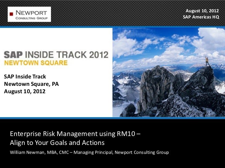 SAP Inside Track 2012 enterprise risk management newman v fx