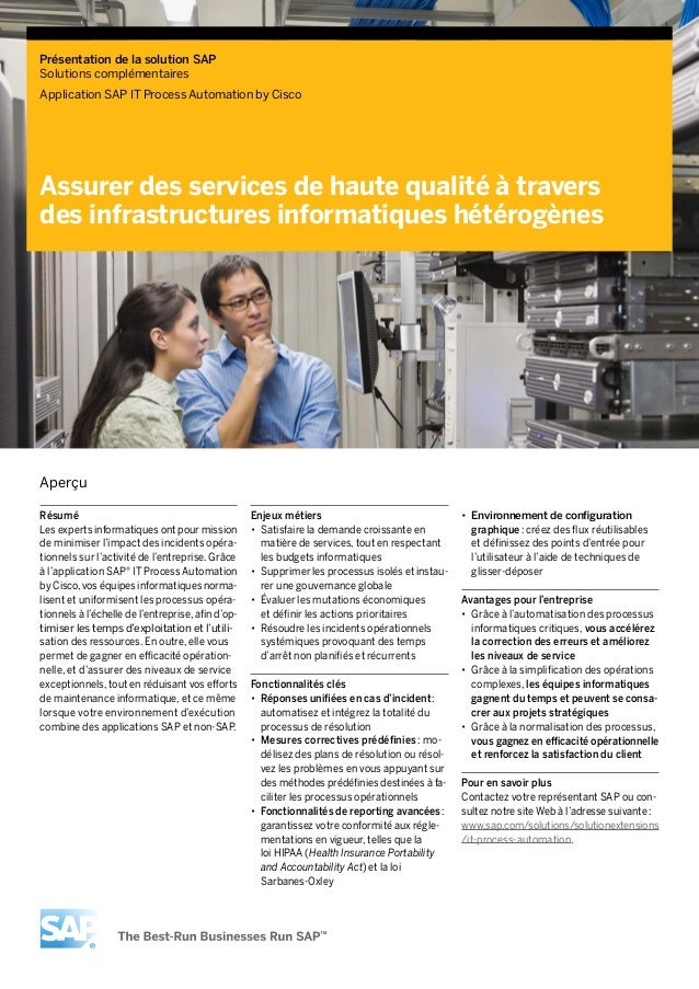 French Language Solution Brief around SAP IT Process Automation by Cisco