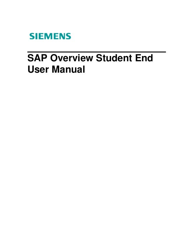 SAP Overview Student EndUser Manual