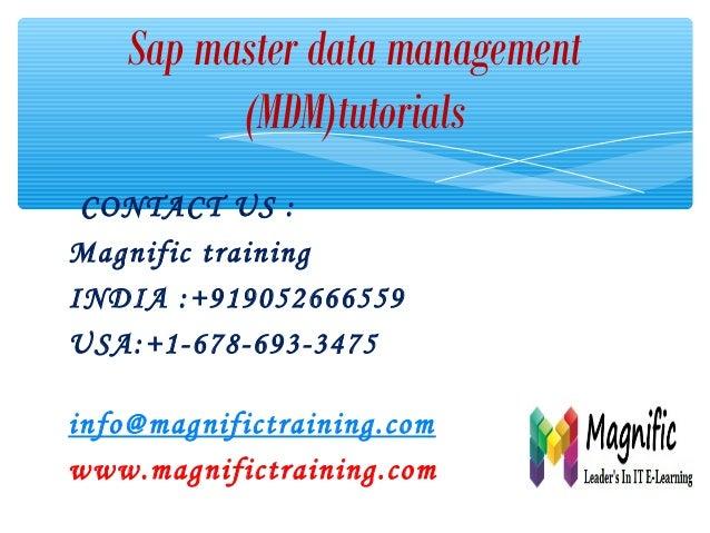 Sap masters data manegement tutorials