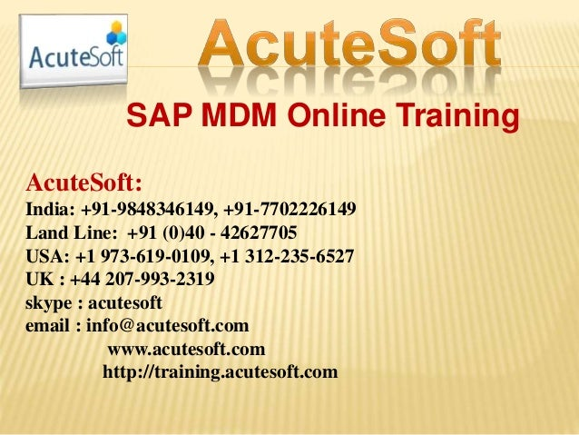 Sap mdm online training