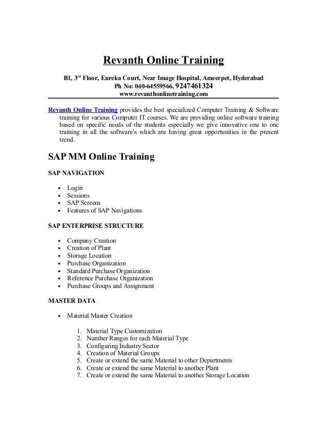 SAP MM Online Training from hyderabad