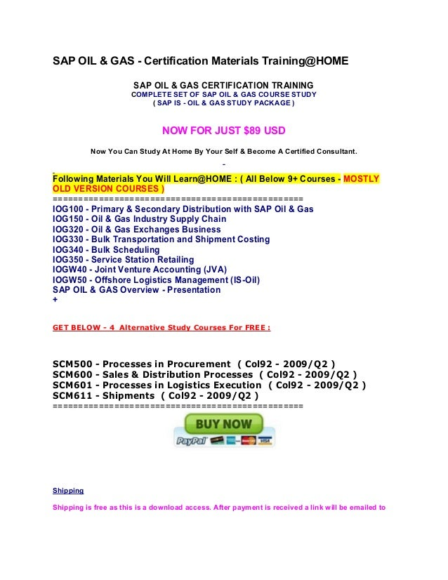 Sap oil & gas certification training
