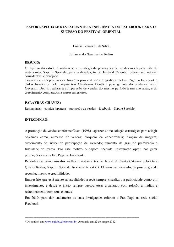 SAPORE SPECIALE RESTAURANTE: A INFLUÊNCIA DO FACEBOOK PARA O                 SUCESSO DO FESTIVAL ORIENTAL                 ...