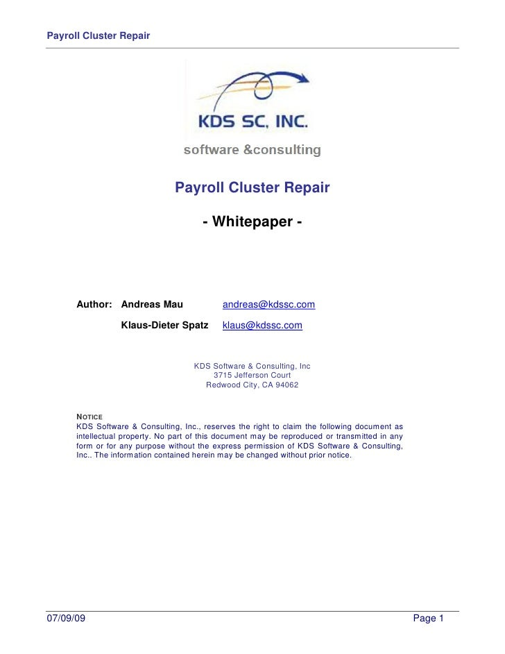 Sap Payroll Cluster Repair   Whitepaper V1.0