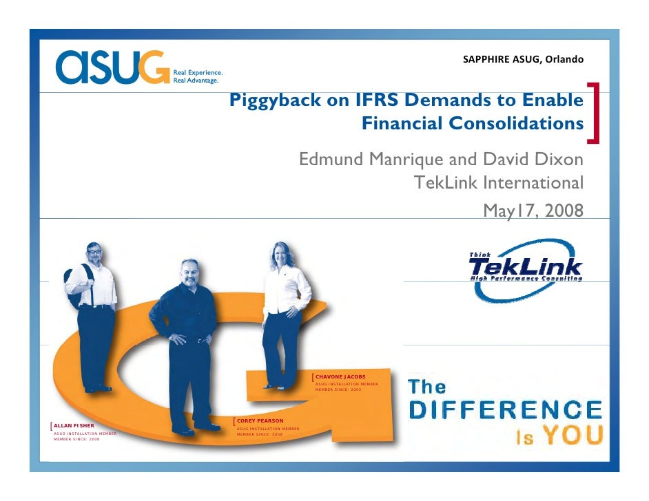Piggyback on IFRS Demands to Enable Financial Consolidation