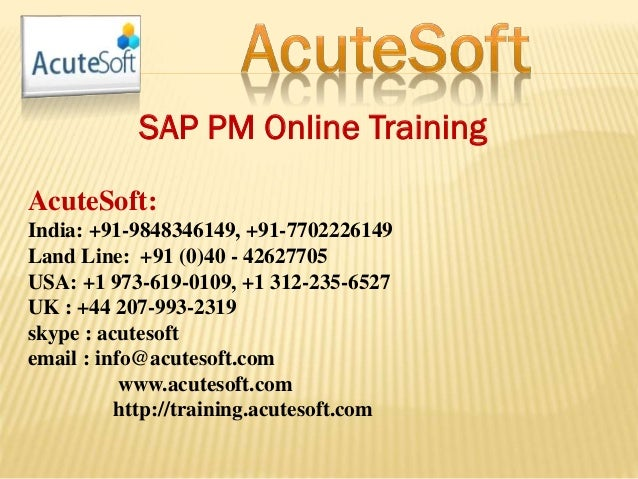 SAP PM ONLINE TRAINING