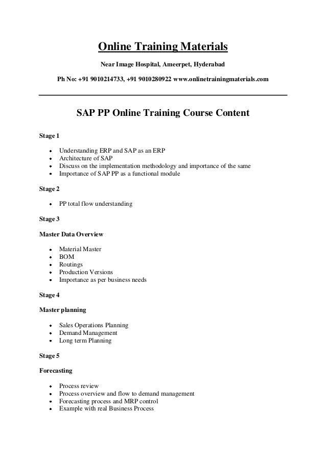 SAP PP Online Training Institutes in Hyderabad India