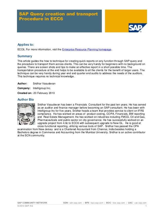 SAP COMMUNITY NETWORK SDN - sdn.sap.com | BPX - bpx.sap.com | BOC - boc.sap.com | UAC - uac.sap.com © 2010 SAP AG 1 SAP Qu...