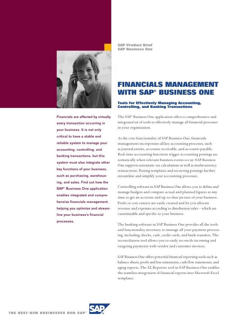 SAP Product Brief                                        SAP Business One                                            FINAN...