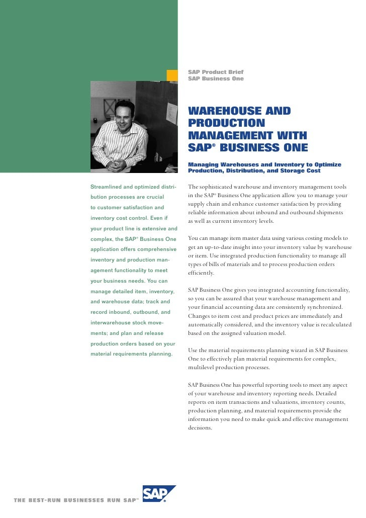 SAP Product Brief                                      SAP Business One                                          WAREHOUSE...