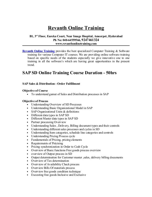 SAP SD Online Training from hyderabad