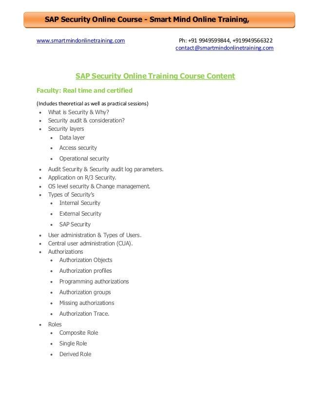 SAP Security Online Course - Smart Mind Online Training, Hyderabad www.smartmindonlinetraining.com  Ph: +91 9949599844, +9...