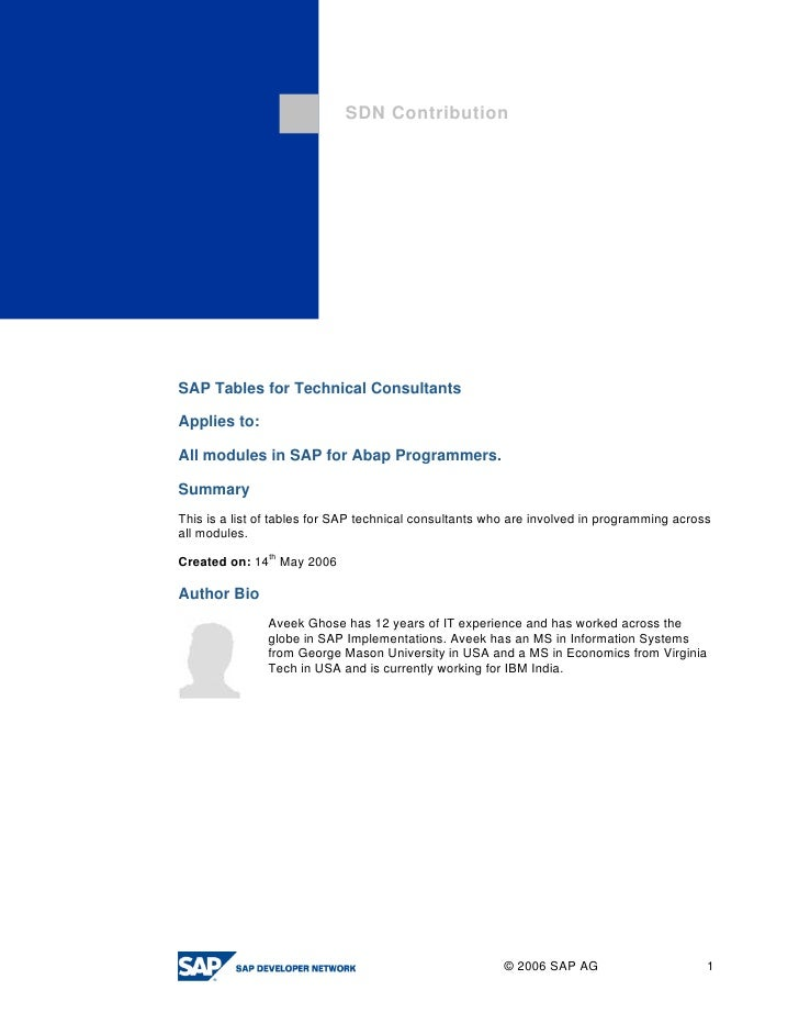 Sap tables for technical consultants
