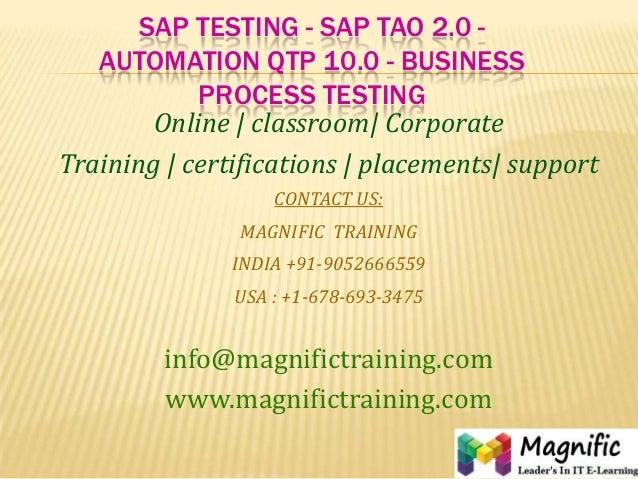Sap testing   sap tao 2.0 - automation qtp 10.0 - business process testing