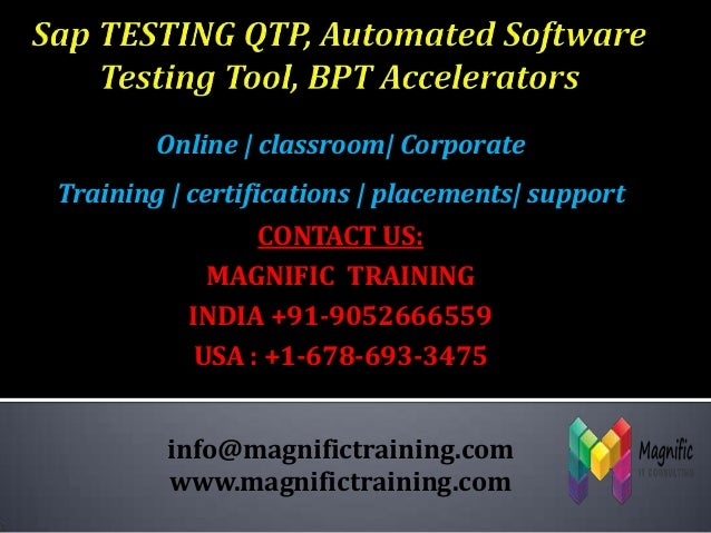 Sap testing qtp, automated software testing tool, bpt accelerators