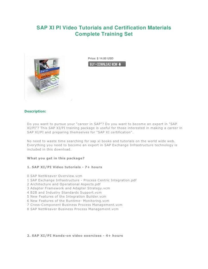 Sap Xi Pi Video Tutorials And Certification Materials Complete Training Set