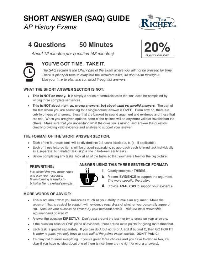 apush free response essay rubric
