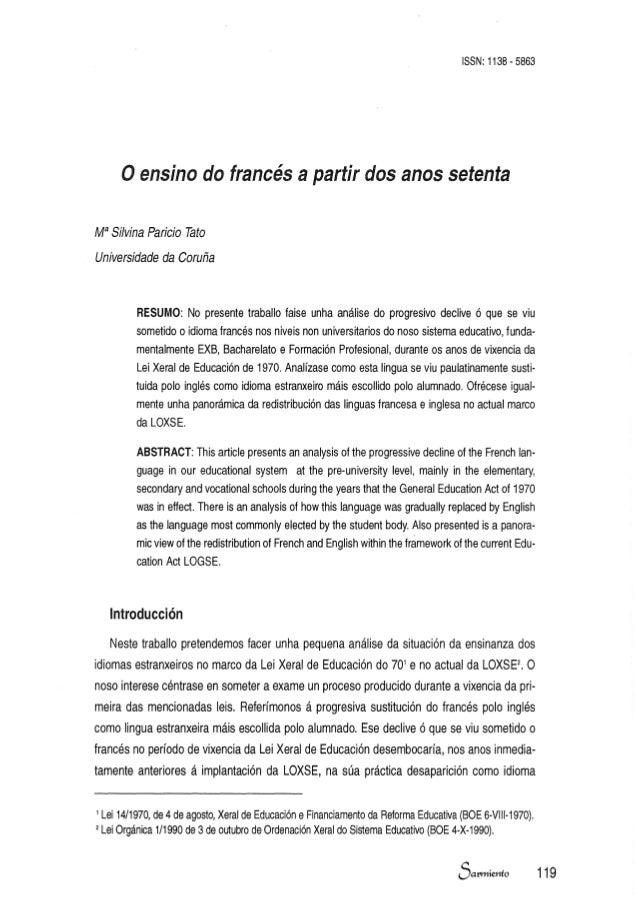 ISSN: 1138 - 5863  o ensino do francés a partir dos anos setenta Ma Sí/vina Paricio Tato Universidade da Coruña  RESUMO: N...
