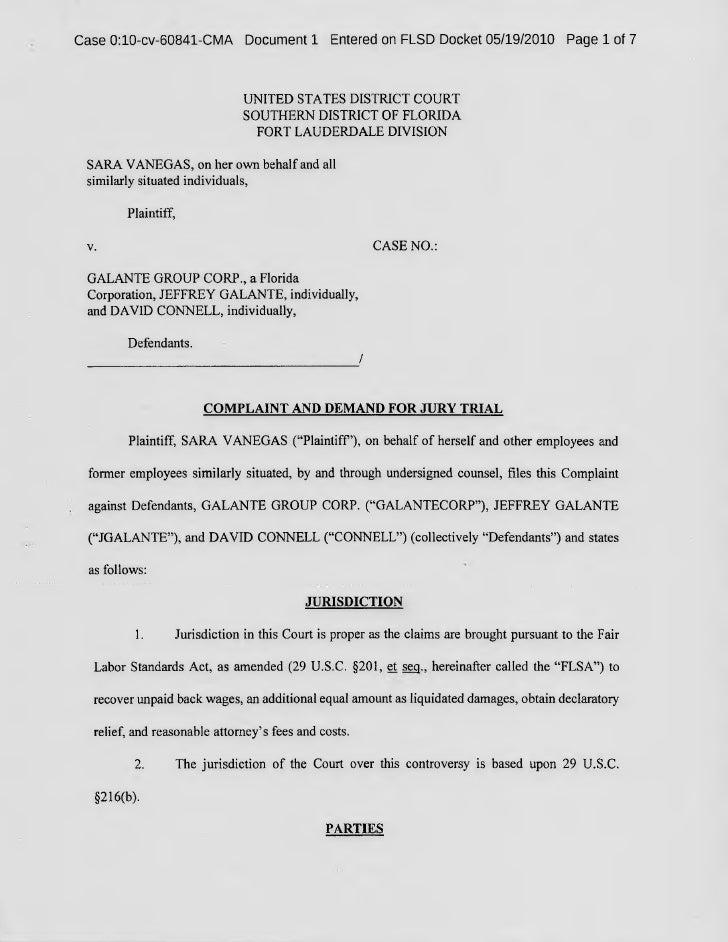 Sara Vanegas versus Galante Group Corporation & Jeffery Galante & David Connell
