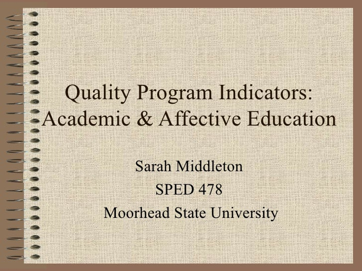 Quality Program Indicators: Academic & Affective Education Sarah Middleton  SPED 478  Moorhead State University
