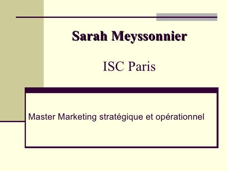 Sarah Meyssonnier ISC Paris Master Marketing stratégique et opérationnel