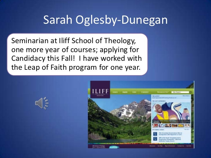 Sarah Oglesby-Dunegan<br />Seminarian at Iliff School of Theology, one more year of courses; applying for Candidacy this F...