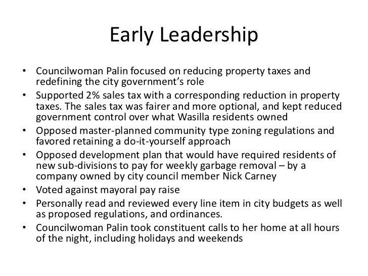 early leadership councilwoman palin focused