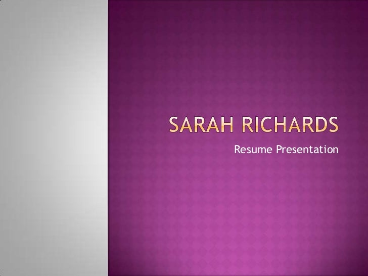 Sarah Richards CV